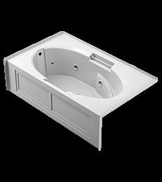 Majora skirted whirlpool bath in white