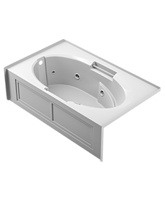 Majora skirted whirlpool bath in white