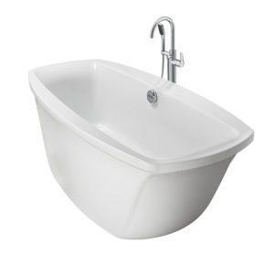 Primo 66x34 Freestanding Soaking Bath in White with Chrome Bundle
