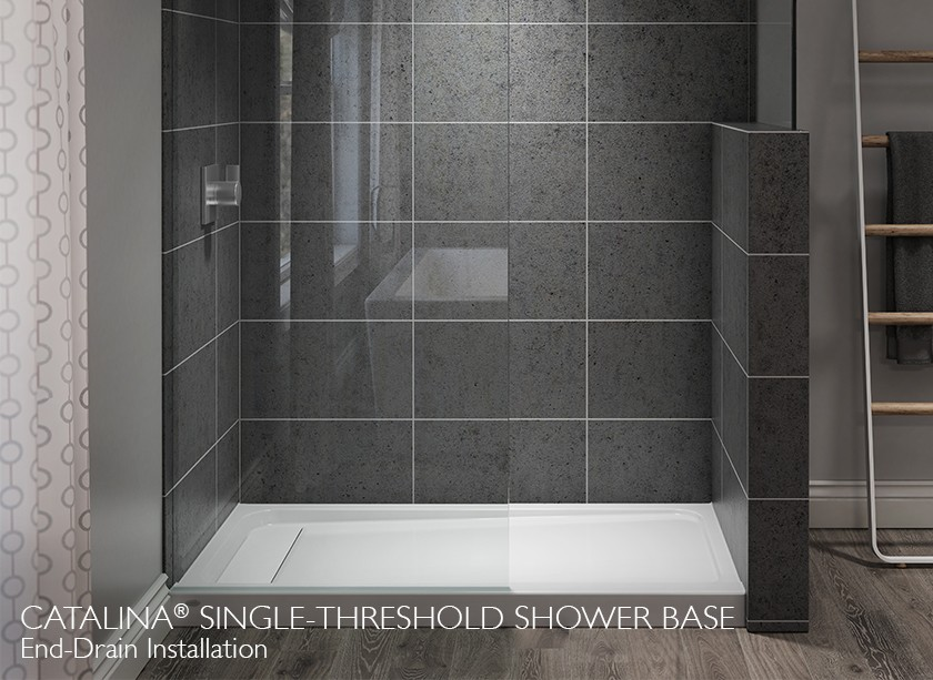 catalina end drain shower with grey shower tiles and glass walls