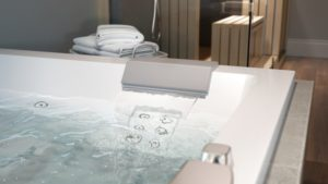Elara Plus Bath With Whirlpool Experience And waterfall in White