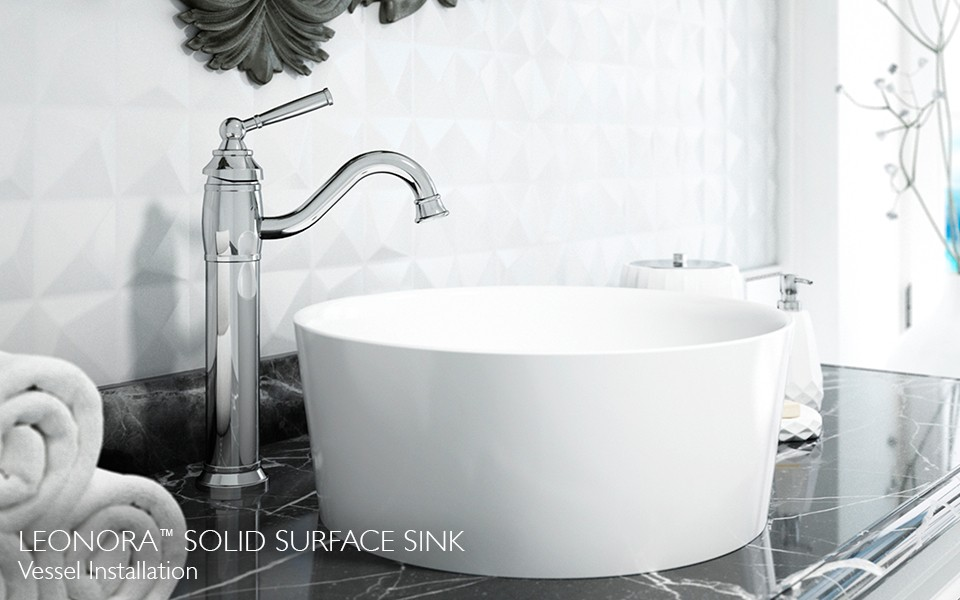 leonora sink with chrome faucet