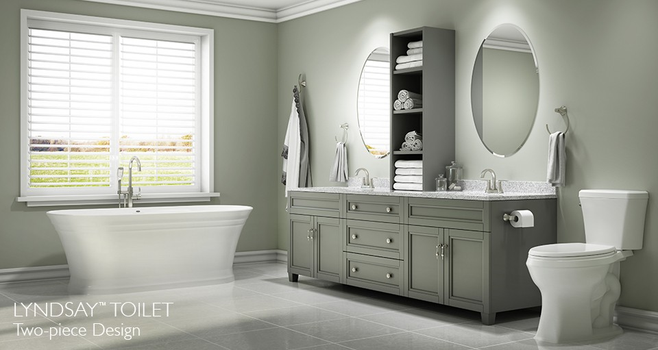 lyndsay freestanding bath with lyndsay toilet in bathroom setting