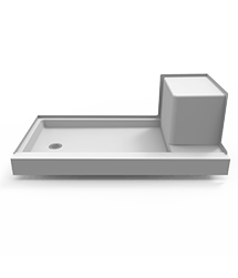 Catalina Seated End-Drain Shower Base in White
