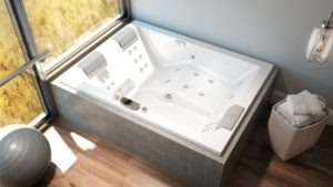 Elara Plus Whirlpool Bath Featuring Unique Hydrotherapy Circuit Seats and Whisper Technology in White