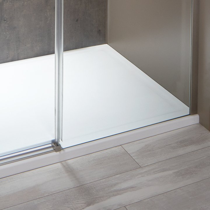 Exposed Roller Door in Brushed Nickel with Low-Entry Shower Pan